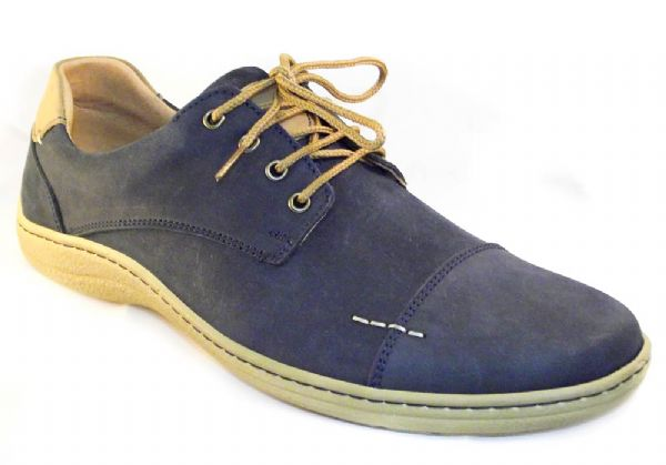 """Harry"" brushed marine blue soft nubuck leather shoe."